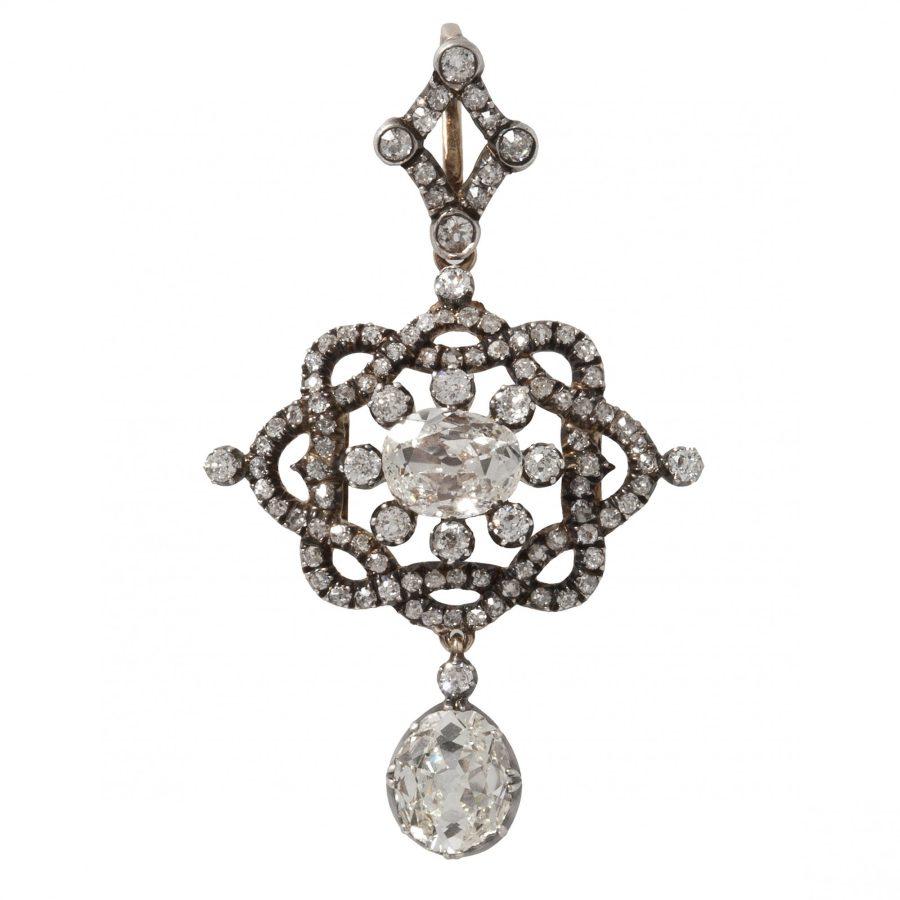 antieke hanger broche bezet met briljant geslepen diamanten als hanger