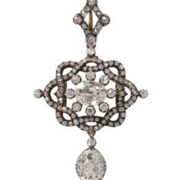 antieke hanger broche diamant 1880s
