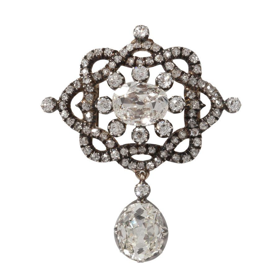 antieke hanger broche bezet met briljant geslepen diamanten als broche