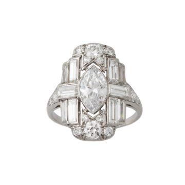 art deco diamant ring 1920s