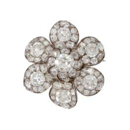 antieke bloembroche diamant circa 1840