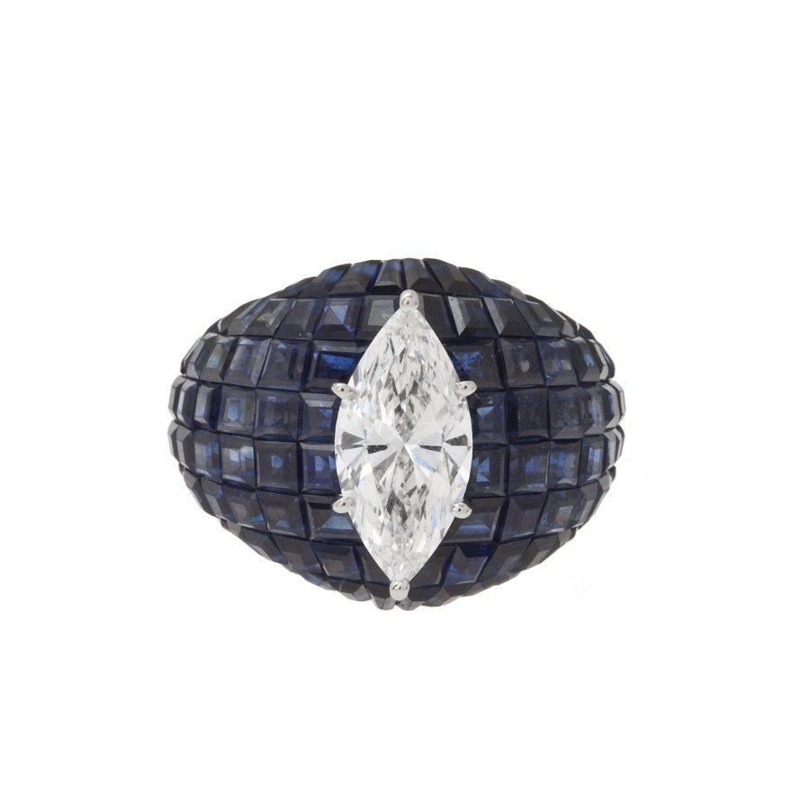 van cleef & arpels ring serti invisible diamant saffier 1980s