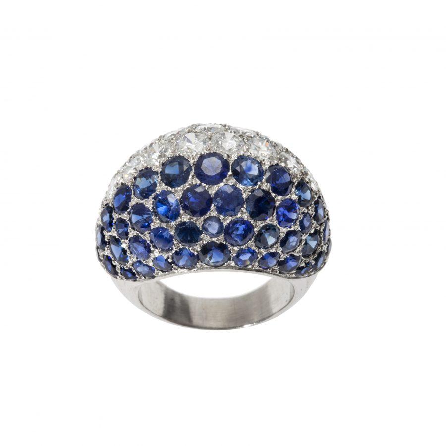 cartier bombe saffier diamant ring