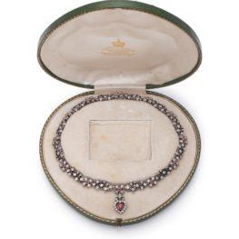 collier 19e eeuw diamant robijn