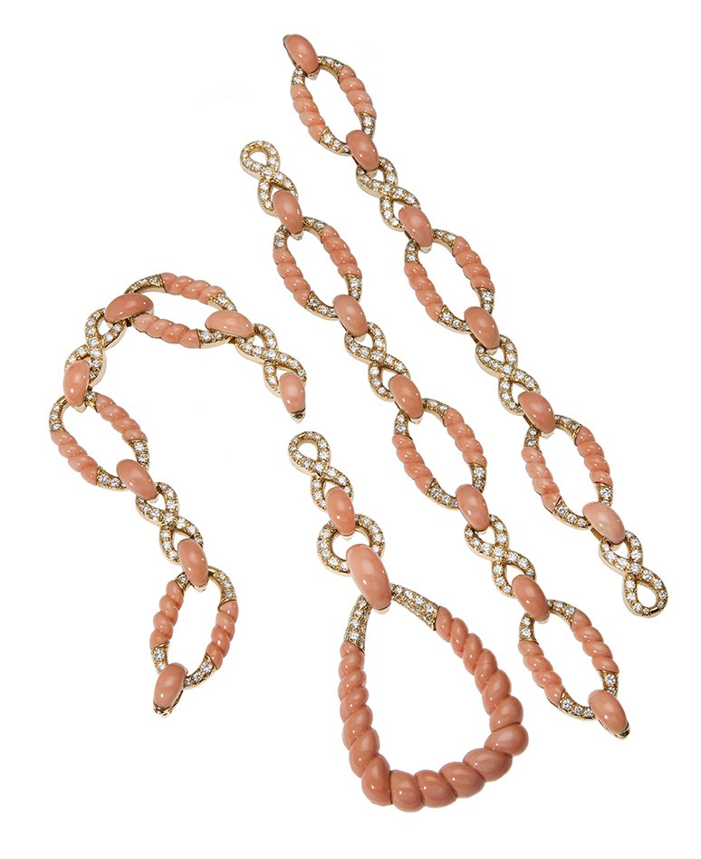 pierre brun collier armband hanger koraal diamant 1974