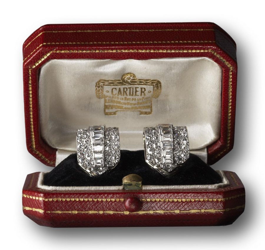 Cartier Art Deco clip diamond earrings dress clips