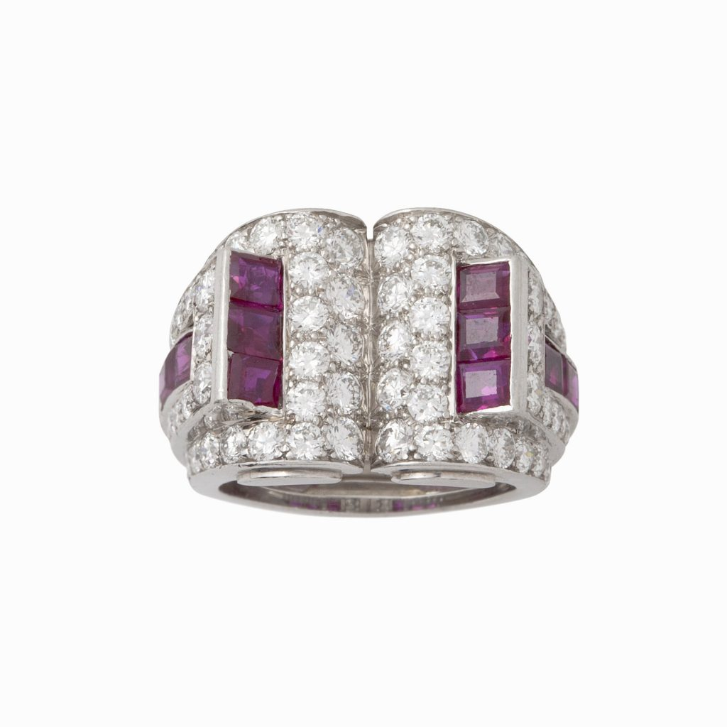 art deco diamond and ruby ring by caldwell & co