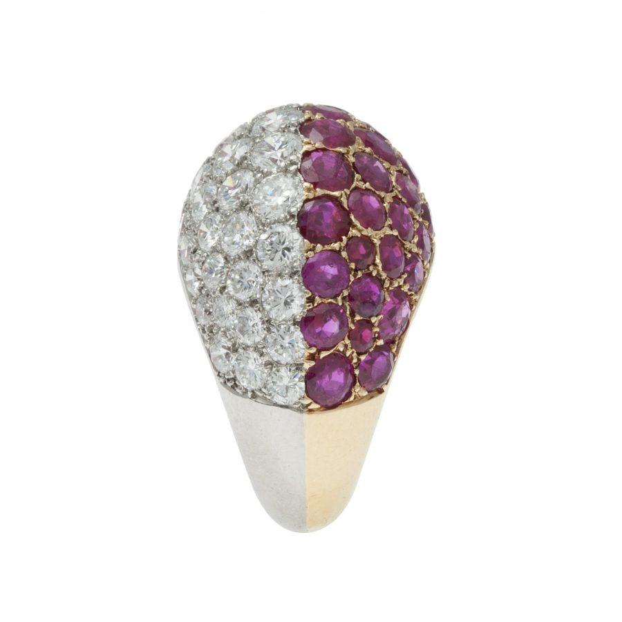 cartier robijn diamant bolle ring 1960s