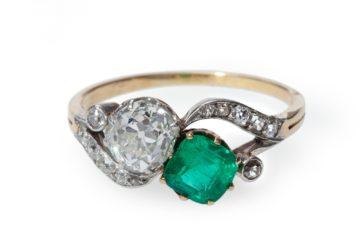 ring belle epoque smaragd diamant ca 1910