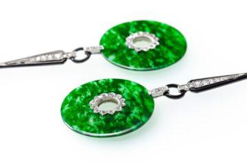 art deco jadeiet diamant emaille oorbellen
