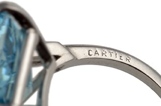 cartier ring aquamarijn en diamant, circa 1960