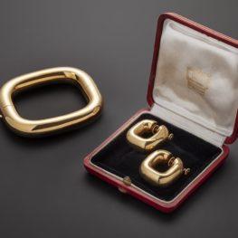 cartier TV set bracelet and earrings London 1970s