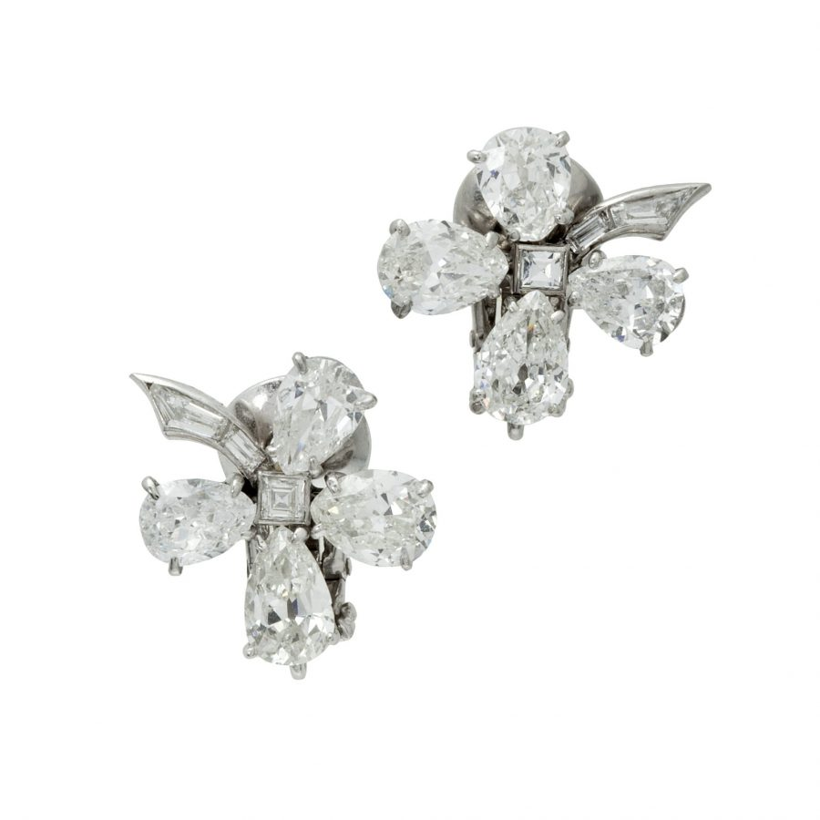 Van Cleef & Arpels diamant bloem oorbellen