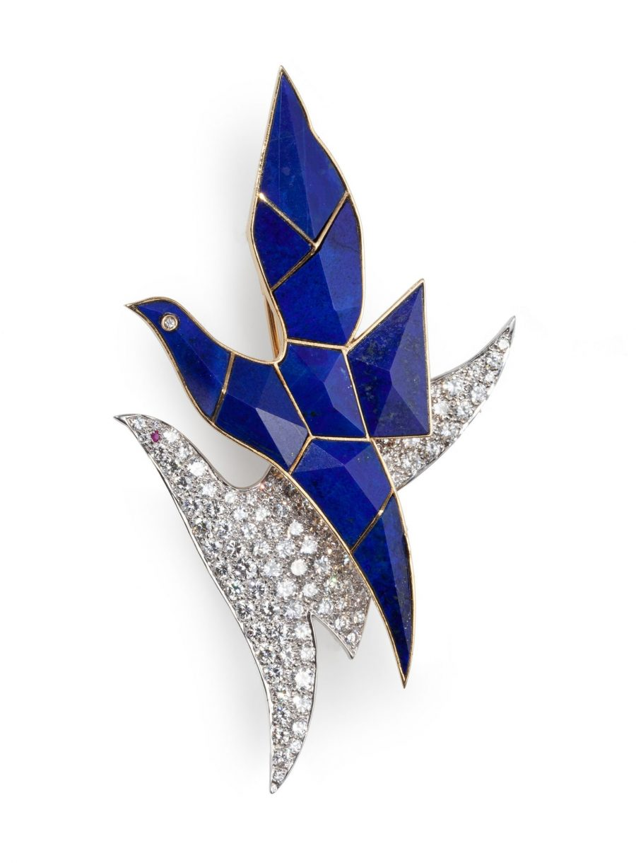brooch birds lapis lazuli diamonds 1970s