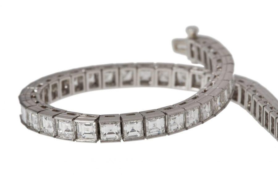 Oscar Heyman carré diamant rivière armband 1950's
