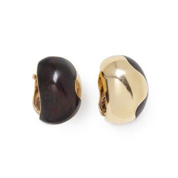 Van Cleef & Arpels goud en hout oorclips ca 1970