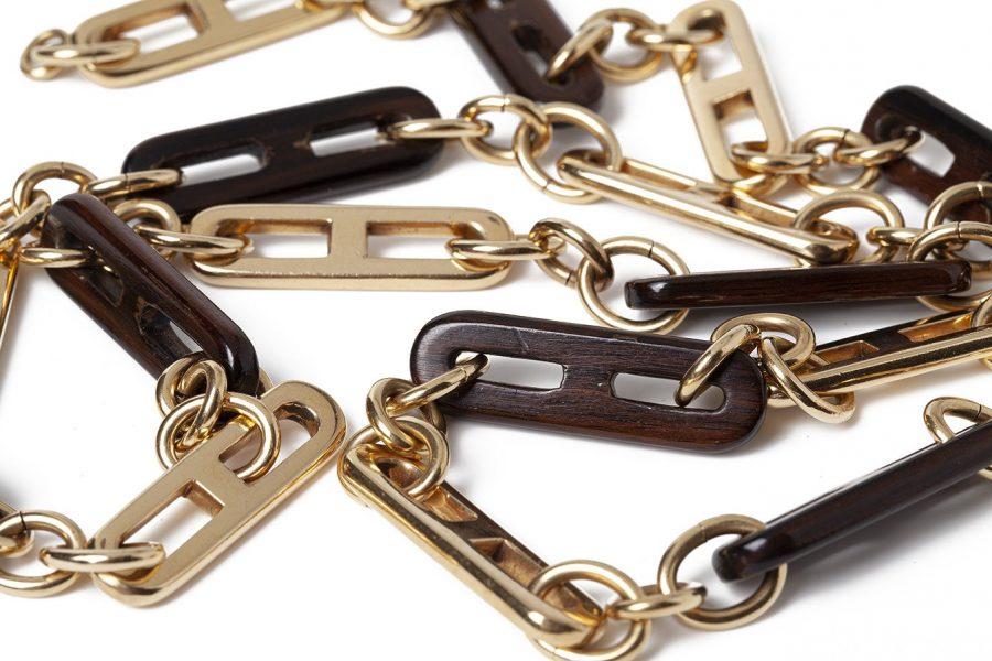 gucci hout en goud lang collier ca 1970
