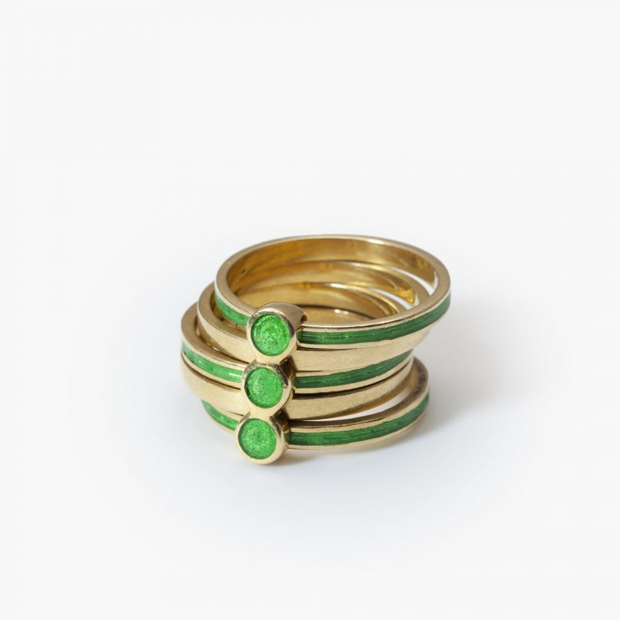 Gucci ring groen emaille