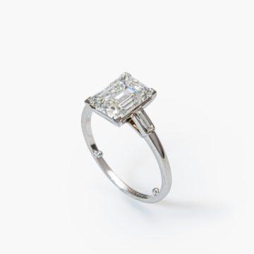 Cartier solitair diamant ring baguette GIA certificaat