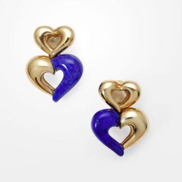 Van Cleef & Arpels hart oorbellen lapis lazuli