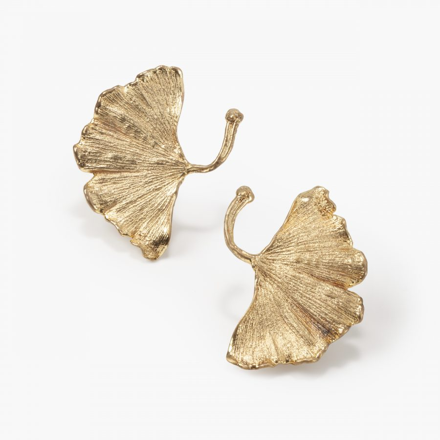 claude lalanne gilt bronze ginkgo leaf earrings for artcurial, paris