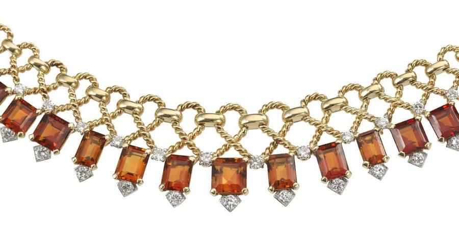 Cartier collier geelgoud met citrien en diamant