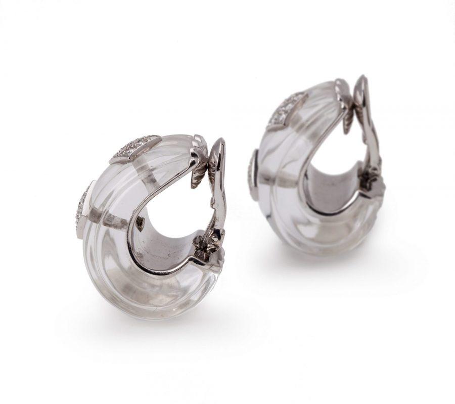 David Webb bergkristal en diamant oorbellen