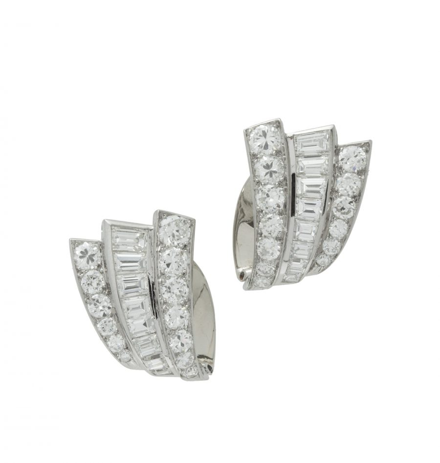 Diamant oorclips ca 1950