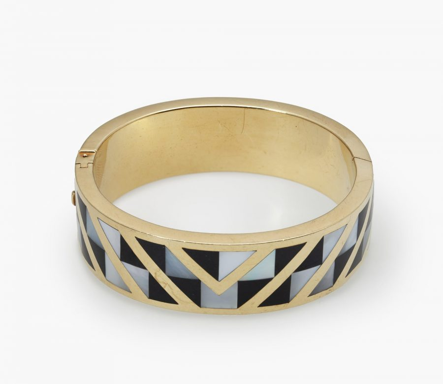 Tiffany & Co bangle inlayed with onyx and mother of pearl 1986