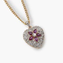 Antieke hart hanger diamant robijn