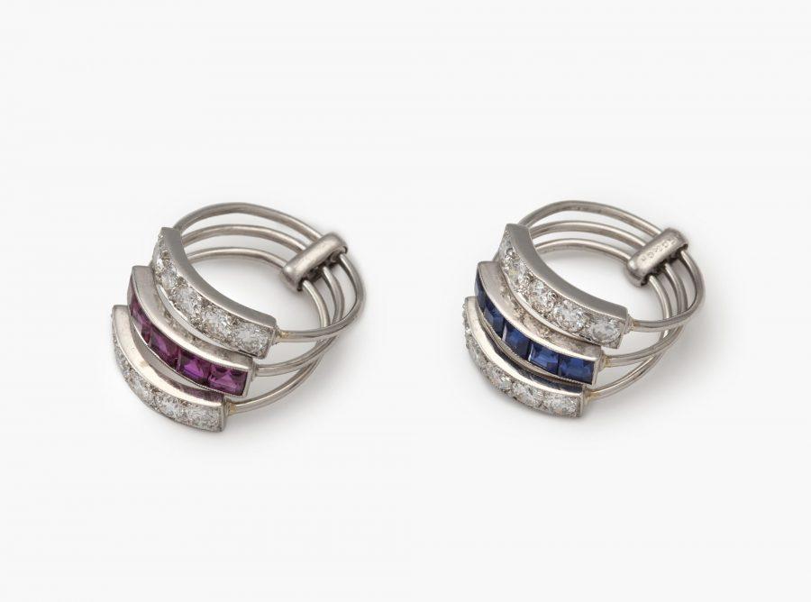 J.E. Caldwell twee Art Deco ringen diamant robijn saffier