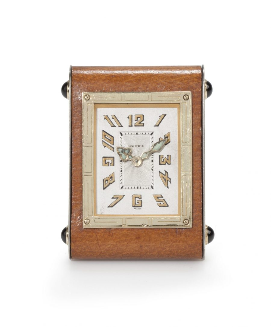 Cartier bureauklokje met bruin leer circa 1930