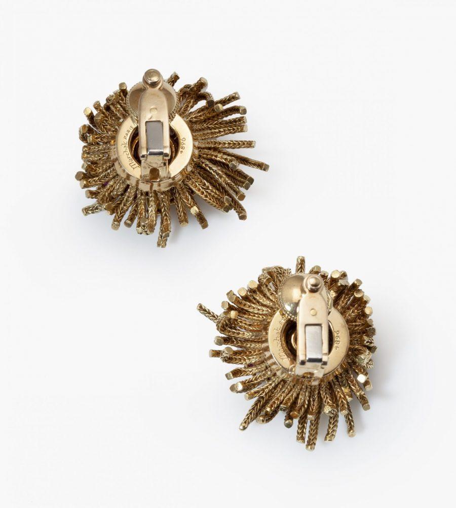 Marchak oorbellen diamant turkoois robijn 1950s