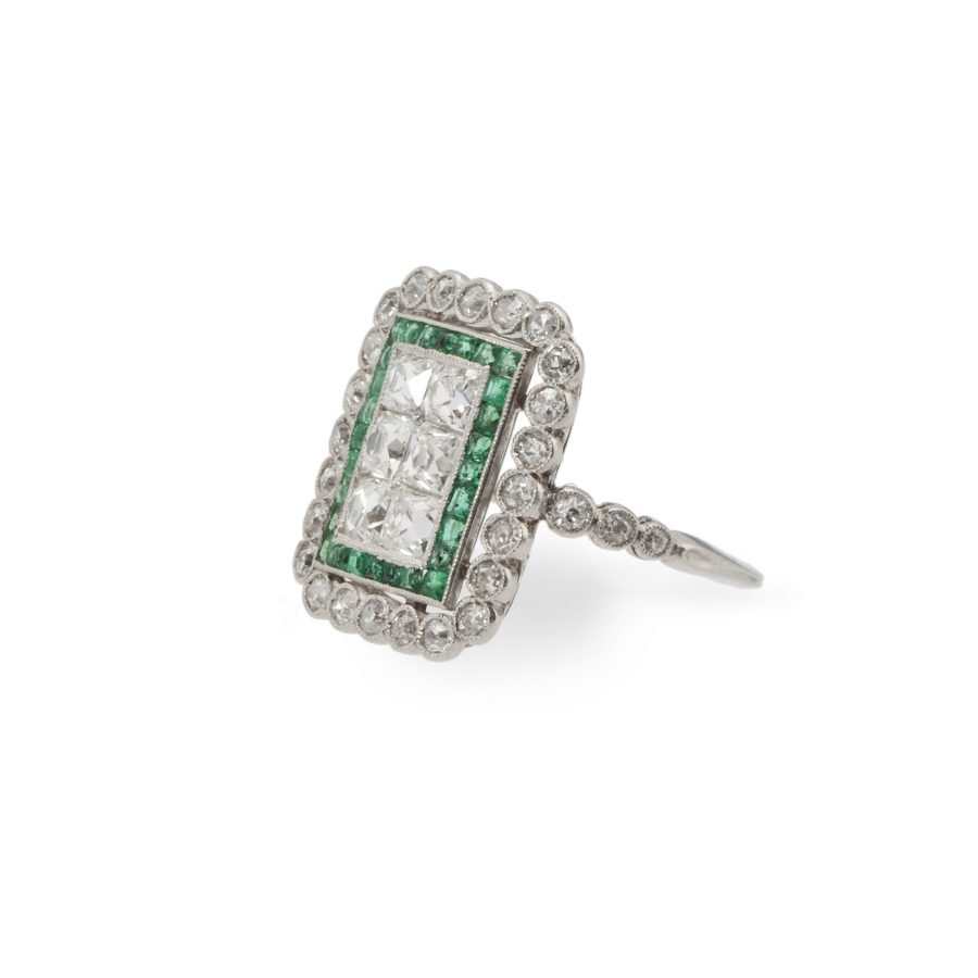 Art Deco ring diamant smaragd Maurice Beck