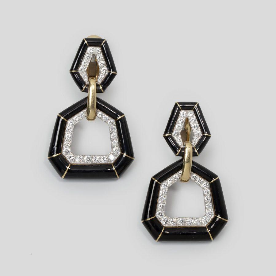 David Webb bamboo enamel diamond earrings