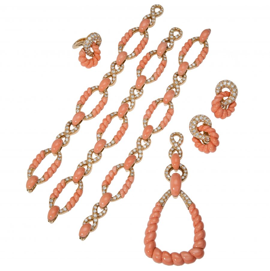 pierre brun coral diamond set penant bracelets necklace 1970s