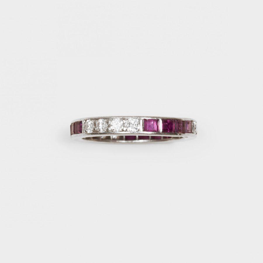 twee platina alliance ringen diamant robijn oscar heyman new york