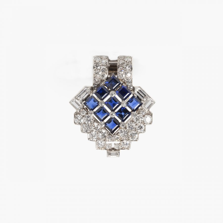 Cartier Art Deco dress clip saffier diamant