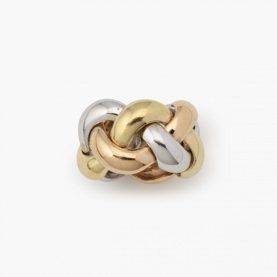 Drie kleuren gouden flexibele ring gevlochten