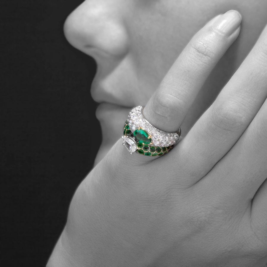 Cartier toi et moi ring smaragd en diamant 1950 Parijs