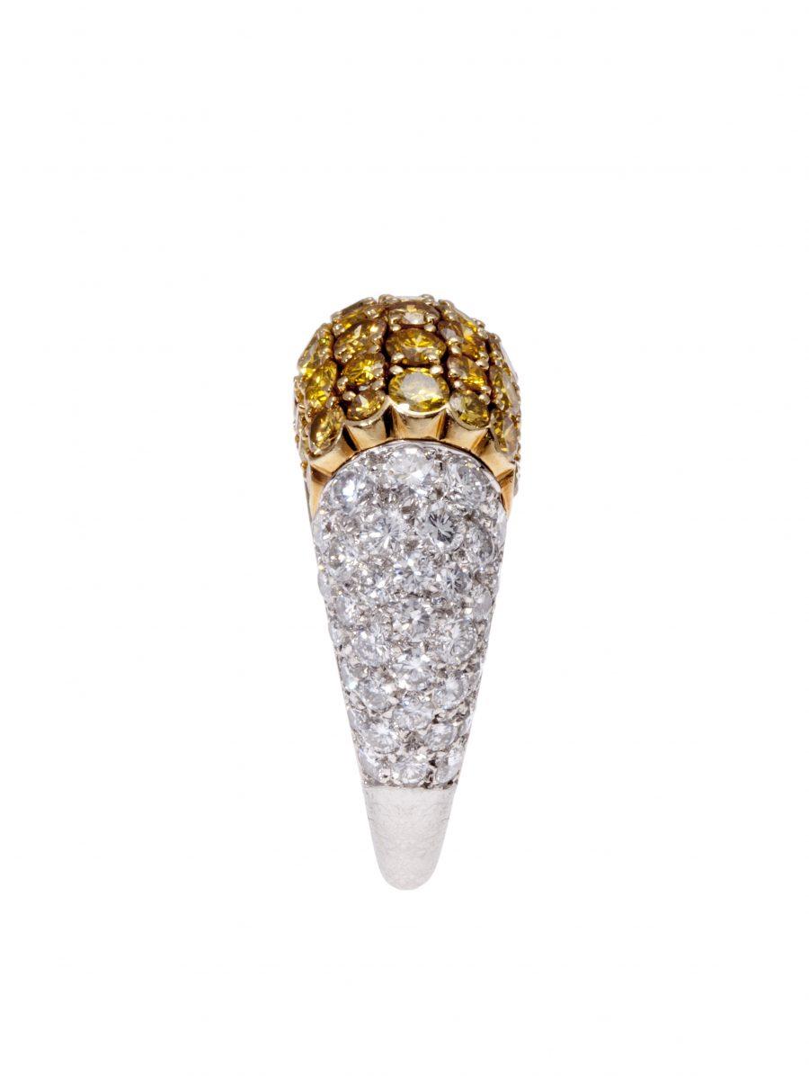 Van Cleef & Arpels ring platina geelgoud witte en gele diamanten circa 1950