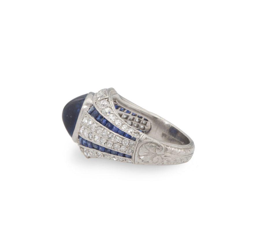 art deco ring cabochon blauwe saffier en diamant circa 1925