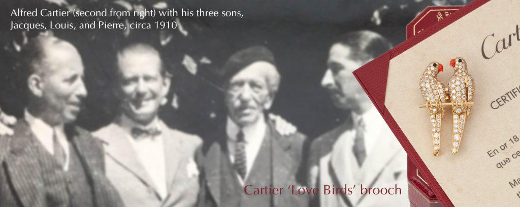 Cartier love birds brooch Paris banner