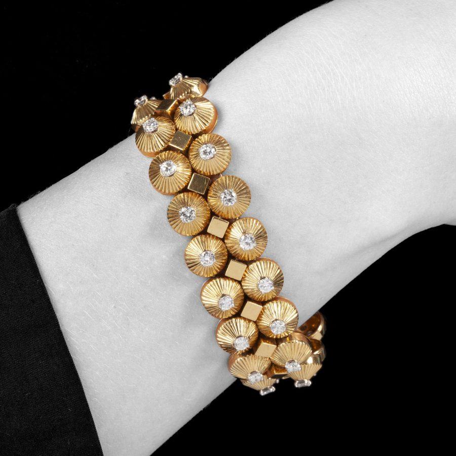 Cartier geelgoud en diamant armband, Parijs, circa 1950