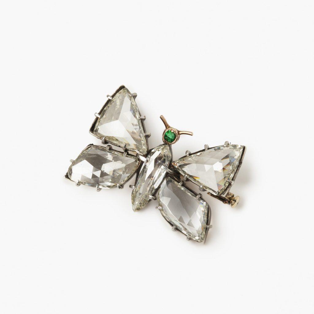 Antieke vlinder broche met diamant vleugels en lijf circa 1900