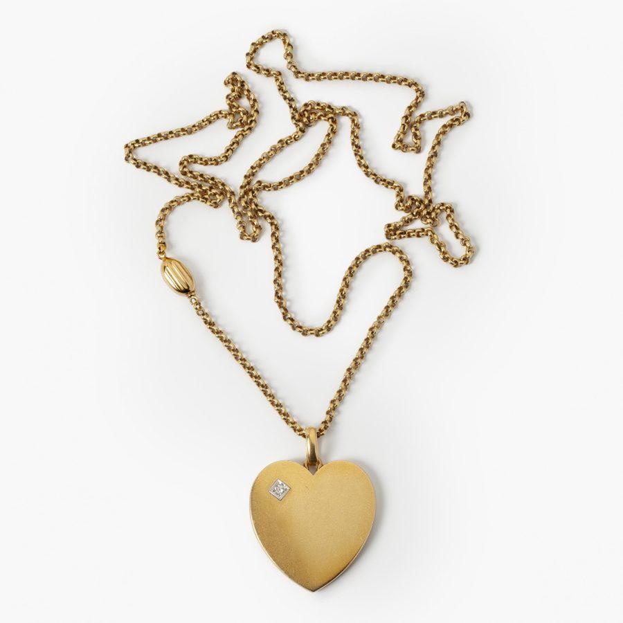 Antiek hanger medaillon hart met antieke ketting